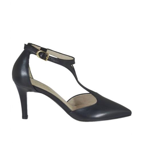 Scarpa aperta da donna con elastico e cinturino Charleston in pelle nera tacco 7 - Misure disponibili: 45, 46