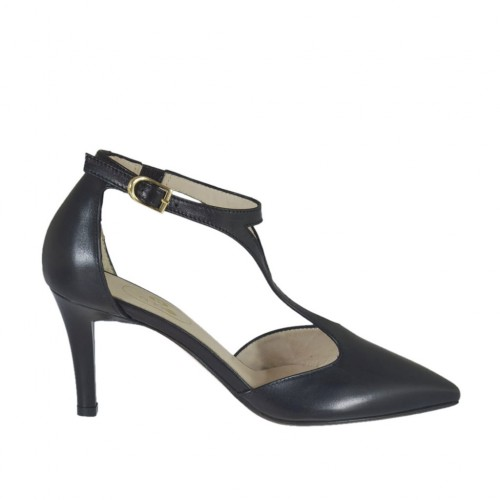 Woman's open shoe with elastic band and t-strap in black leather heel 7 - Available sizes:  43, 45, 46