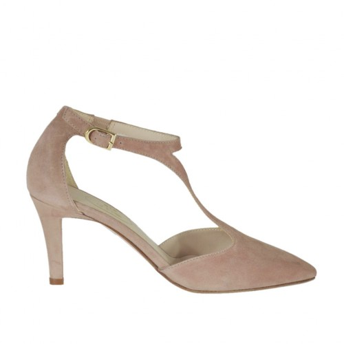 Woman's open T-strap shoe with elastic band in rose suede heel 7 - Available sizes:  42, 43, 44, 45, 46