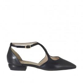 Zapato abierto para mujer con cinturon en piel negra tacon 1 - Tallas disponibles: 33, 34, 42, 43, 44, 45, 46