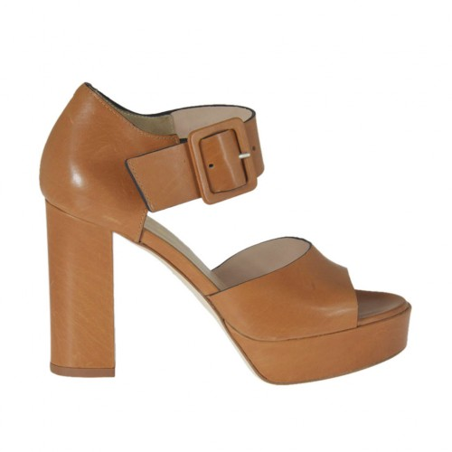 Woman's open shoe in tan brown leather with buckle and platform heel 9 - Available sizes:  42