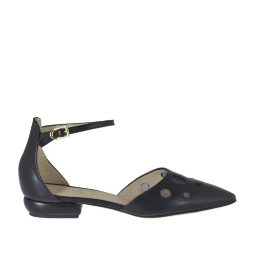 Woman's open shoe with net and strap in black leather heel 1 - Available sizes:  43, 44, 45