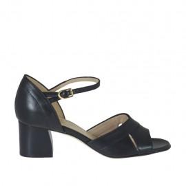 Offener Damenschuh aus schwarzem Leder mit Riem Absatz 5 - Verfügbare Größen: 32, 33, 34, 42, 43, 44, 45, 46