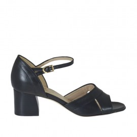 Woman's open shoe with strap in black leather heel 5 - Available sizes:  33, 34, 43, 44, 45