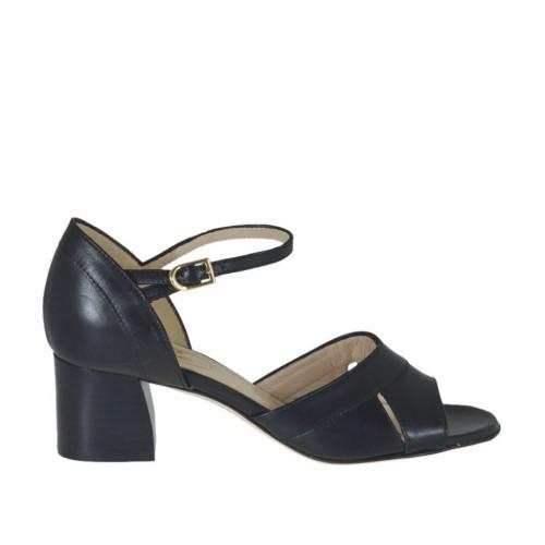 Chaussure ouvert pour femmes en cuir noir avec courroie talon 5 - Pointures disponibles:  33, 34, 43, 44, 45