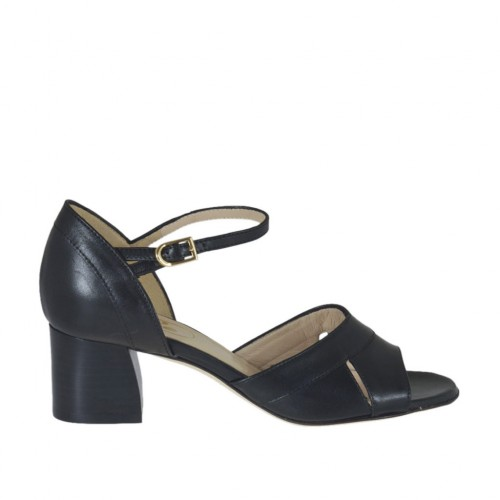 Woman's open shoe with strap in black leather heel 5 - Available sizes:  33, 43, 45