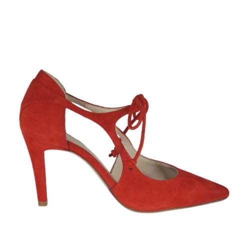 Scarpa aperta da donna con lacci in camoscio rosso tacco 8 - Misure disponibili: 31, 32, 43, 44, 46