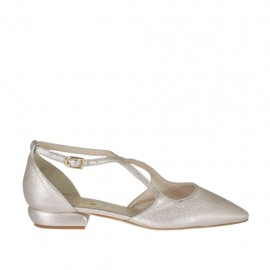 Woman's open strap shoe in rosé laminated leather heel 1 - Available sizes: 33, 34, 43, 44, 45, 46