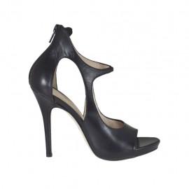 Scarpa aperta da donna con cerniera e elastico in pelle nera tacco 10 - Misure disponibili: 31, 32, 33, 34, 42, 43, 44, 45