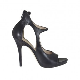 Woman's open platform pump with zipper and elastic band in black leather heel 10 - Available sizes: 31, 32, 33, 34, 42, 43, 44, 45