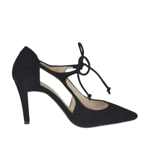 Chaussure ouvert pour femmes à lacets en daim noir talon 8 - Pointures disponibles:  31, 32, 34, 43, 44, 45, 46