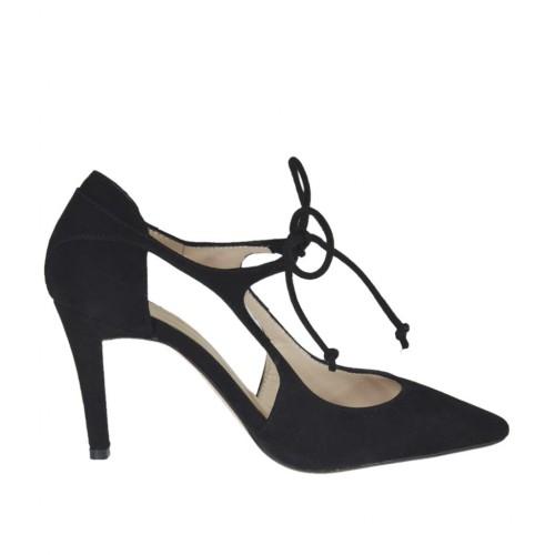 Scarpa aperta da donna con lacci in camoscio nero tacco 8 - Misure disponibili: 31, 43, 44, 45, 46
