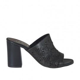 Offene Pantolette für Damen aus schwarzem perforiertem Leder Absatz 7 - Verfügbare Größen:  34, 43