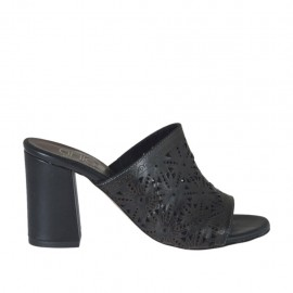 Woman's open mules in black pierced leather heel 7 - Available sizes:  34, 42, 43