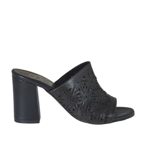 Woman's open mules in black pierced leather heel 7 - Available sizes:  32, 33, 34, 42, 43