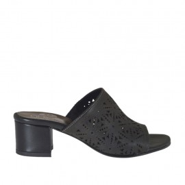 Woman's open mules in black pierced leather heel 4 - Available sizes:  42