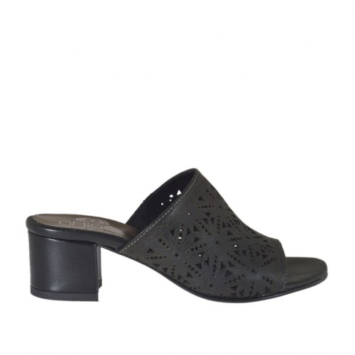Woman's open mules in black pierced leather heel 4 - Available sizes:  32, 33, 34, 42, 43, 44