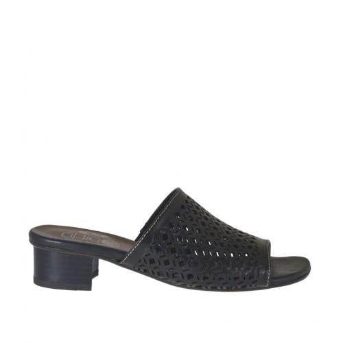 Offene Pantolette für Damen aus schwarzem perforiertem Leder Absatz 3 - Verfügbare Größen:  33, 42