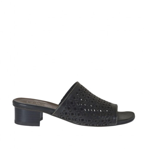 Woman's open mules in black pierced leather heel 3 - Available sizes:  33, 42