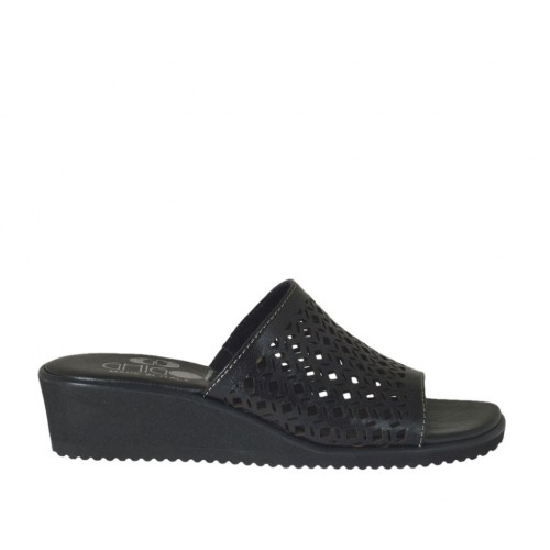 Woman's open mules in black pierced leather wedge heel 4 - Available sizes:  32, 34, 42, 43, 44