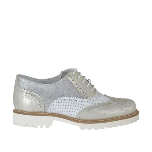 Scarpa stringata da donna modello Oxford in pelle forata bianca e pelle laminata argento e platino tacco 3 - Misure disponibili: 33, 45