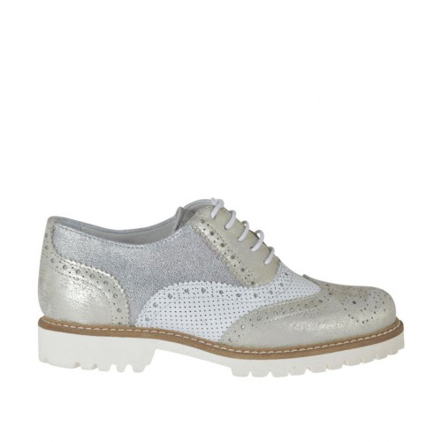 Woman's laced Oxford shoe in white pierced leather and silver and platinum laminated leather heel 3 - Available sizes:  33, 45