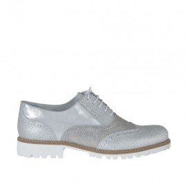 Chaussure richelieu pour femmes à lacets en cuir imprimé et lamé argent talon 3 - Pointures disponibles:  42, 44, 45
