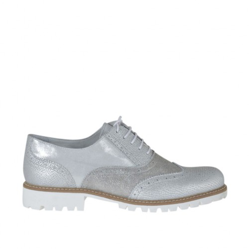 Woman's laced Oxford shoe in silver printed and laminated leather heel 3 - Available sizes:  44, 45