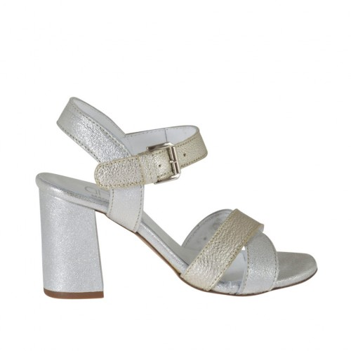 Woman's strap sandal in silver and platinum laminated leather heel 7 - Available sizes:  43, 44