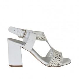 Sandalia para mujer en piel perforada blanca tacon 7 - Tallas disponibles: 32, 33, 34, 42, 43, 44, 45