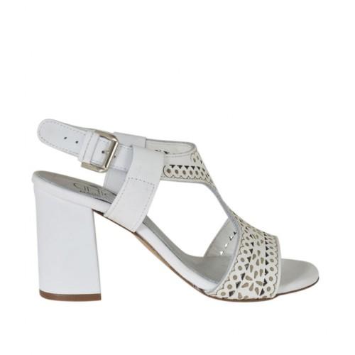 Sandale pour femmes en cuir perforé blanc talon 7 - Pointures disponibles:  42, 44