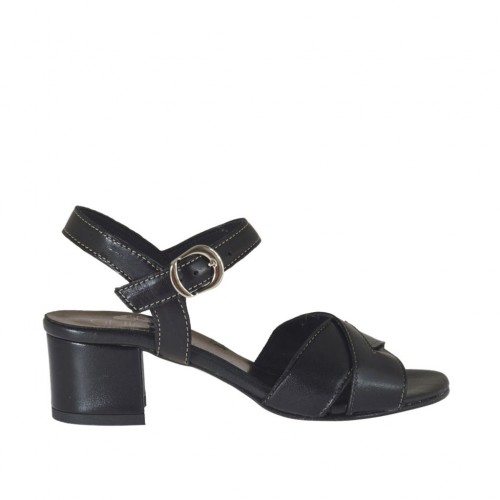 Woman's strap sandal in black leather heel 4 - Available sizes:  32