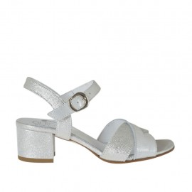 Woman's strap sandal in silver and white laminated leather heel 4 - Available sizes: 32, 33, 34, 42, 43, 44, 45