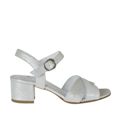 Woman's strap sandal in silver and white laminated leather heel 4 - Available sizes:  32