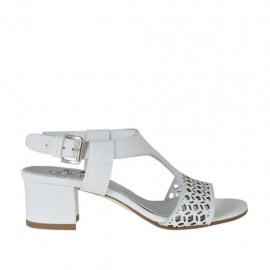 Sandalia para mujer en piel perforada blanca tacon 4 - Tallas disponibles: 32, 33, 34, 42, 43, 44, 45