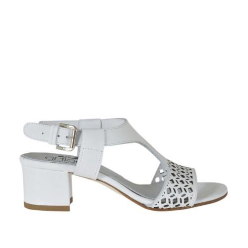 Sandalo da donna in pelle forata bianca tacco 4 - Misure disponibili: 44