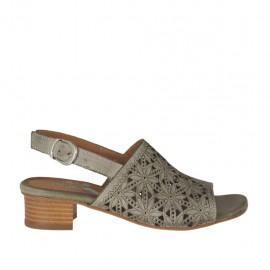 Sandalia para mujer en piel perforada gris pardo tacon 3 - Tallas disponibles: 32, 33, 34, 42, 43, 44, 45