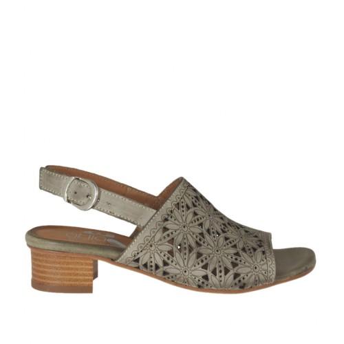 Sandale pour femmes en cuir perforé taupe talon 3 - Pointures disponibles:  32, 42, 44, 45