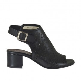 Woman's highfronted sandal in black pierced leather heel 4 - Available sizes: 32, 33, 34, 42, 43, 44, 45