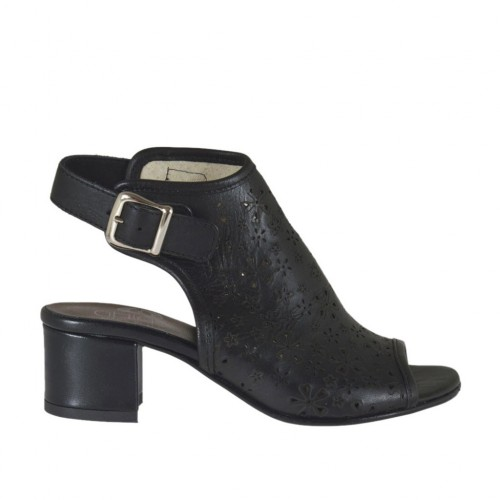 Woman's highfronted sandal in black pierced leather heel 4 - Available sizes:  33, 34, 42