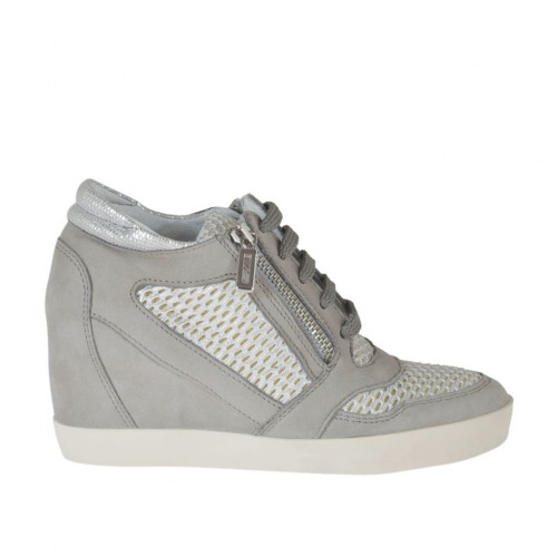 Woman's laced shoe with zippers in grey nubuck, white and silver pierced fabric and laminated printed silver leather wedge 7 - Available sizes:  42