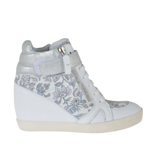 Woman's laced shoe with velcro strap and zippers in white, floral printed and  laminated printed silver leather wedge 7 - Available sizes:  42