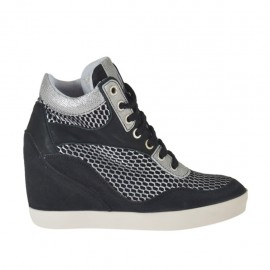 Woman's laced shoe in black suede,black and silver pierced fabric and black and laminated printed silver leather wedge 7 - Available sizes: 32, 33, 34, 42, 43, 44, 45, 46