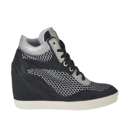 Woman's laced shoe in black suede,black and silver pierced fabric and black and laminated printed silver leather wedge 7 - Available sizes:  34, 42, 43