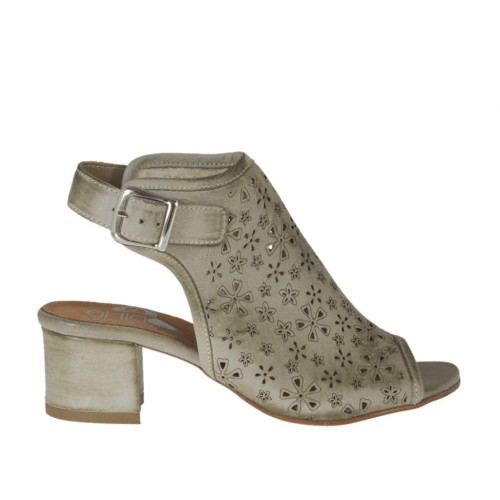 Sandale haute à la cheville pour femmes en cuir perforé taupe talon 4 - Pointures disponibles:  32