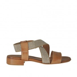 Woman's sandal in tan brown leather with elastic band with rhinestones heel 2 - Available sizes: 32, 33, 34, 42, 43, 44, 45