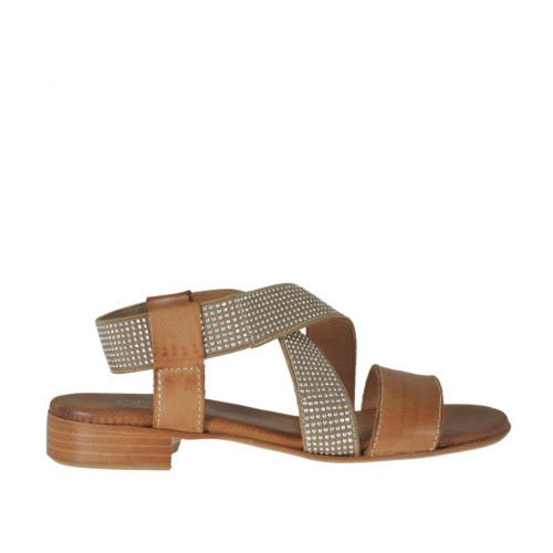 Woman's sandal in tan brown leather with elastic band with rhinestones heel 2 - Available sizes:  32