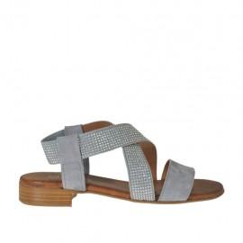 Sandalia con elástico con estrás para mujer en gamuza gris tacon 2 - Tallas disponibles: 32, 33, 34, 42, 43, 44, 45