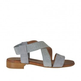 Woman's sandal in grey suede with elastic band with rhinestones heel 2 - Available sizes: 32, 33, 34, 42, 43, 44, 45
