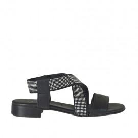 Sandale pour femmes en cuir noir avec elastique avec strass talon 2 - Pointures disponibles: 32, 33, 34, 42, 43, 44, 45
